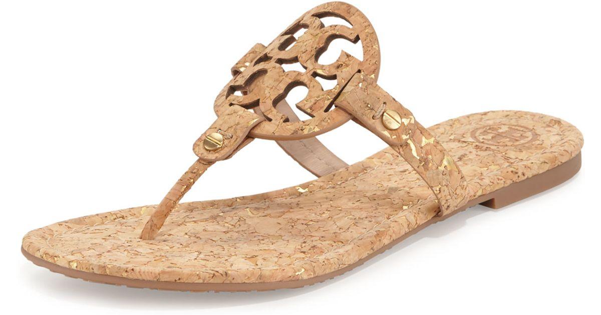 45d78de24 Lyst - Tory Burch Miller Cork Sandals in Natural
