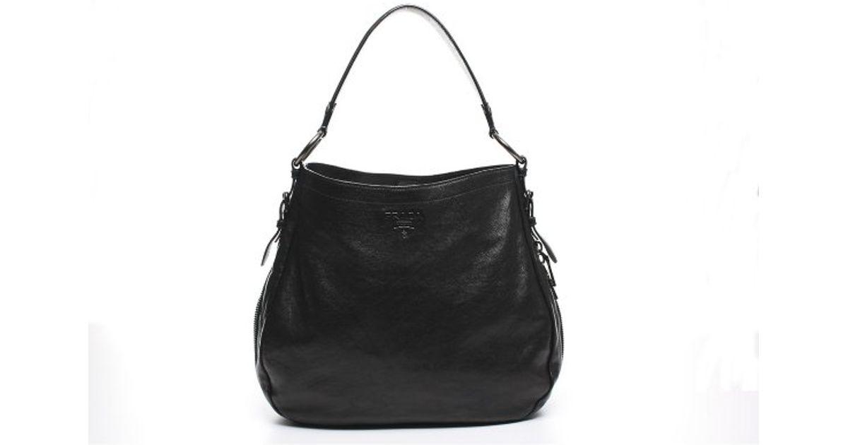 ... australia lyst prada pre owned black vitello daino leather side zip hobo  bag in black 8da25 ... 29032520bd