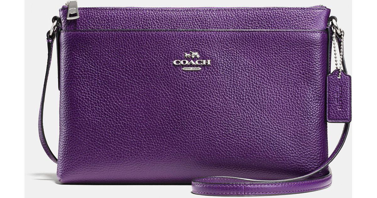 coach purple journal crossbody in bicolor pebble leather lyst rh lyst com