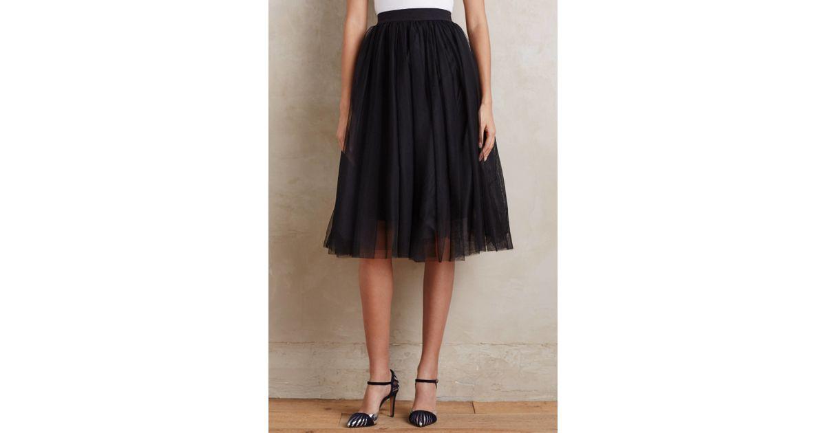 bailey 44 tulle midi skirt in black lyst
