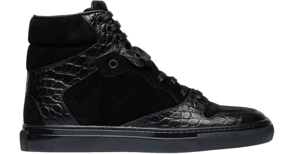 948e1b685535 Lyst - Balenciaga Suede   Croc-Stamped Sneakers in Black