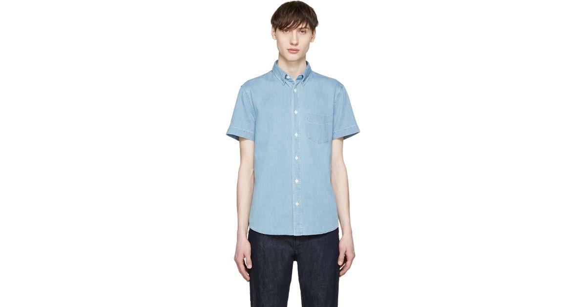 b8b20e9ed8e Lyst - Acne Studios Blue Denim Superbleach Isherwood Shirt in Blue for Men