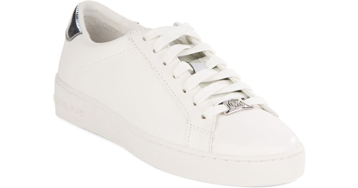 7c3495cd6d52 MICHAEL Michael Kors Irving Lace-Up Leather Sneakers in Metallic - Lyst