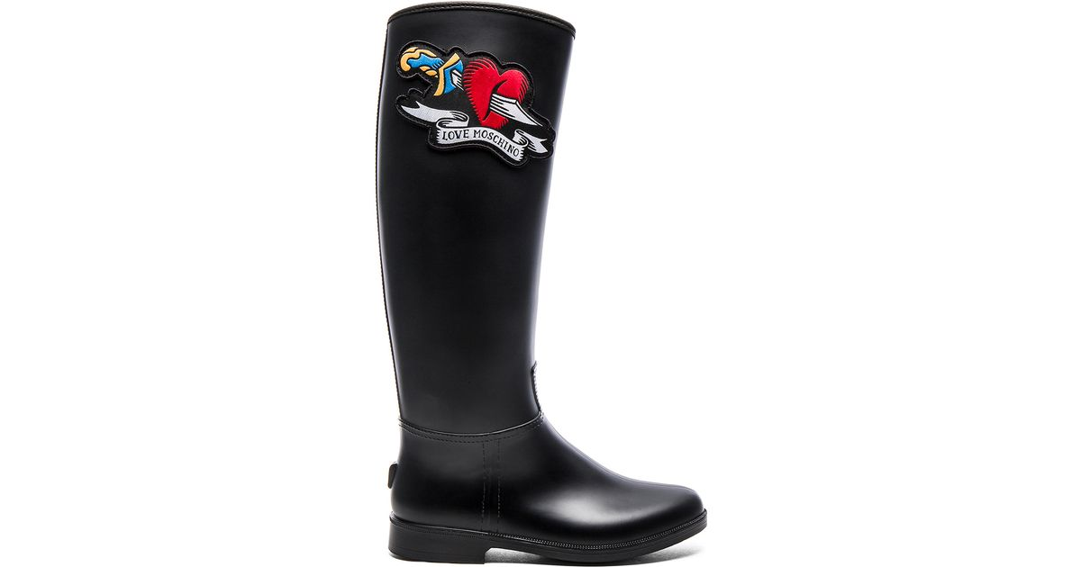 Love Moschino Heart Motif Rain Boots In Black Lyst