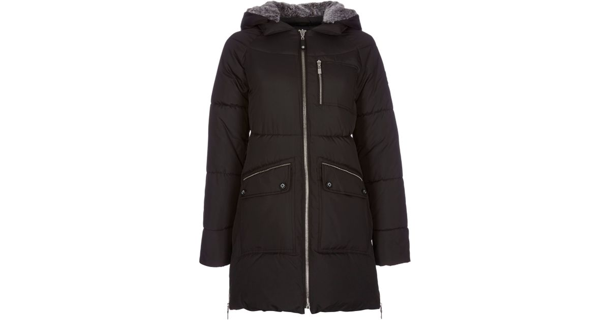 Halifax traders Long Quilted Jacket With Faux Fur Hood in Black   Lyst