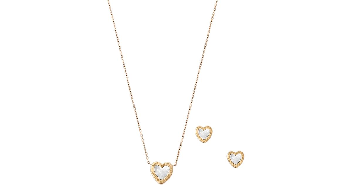 141ecc9a3530 Lyst Michael Kors Gold Tone Heart Necklace And Earrings Set In