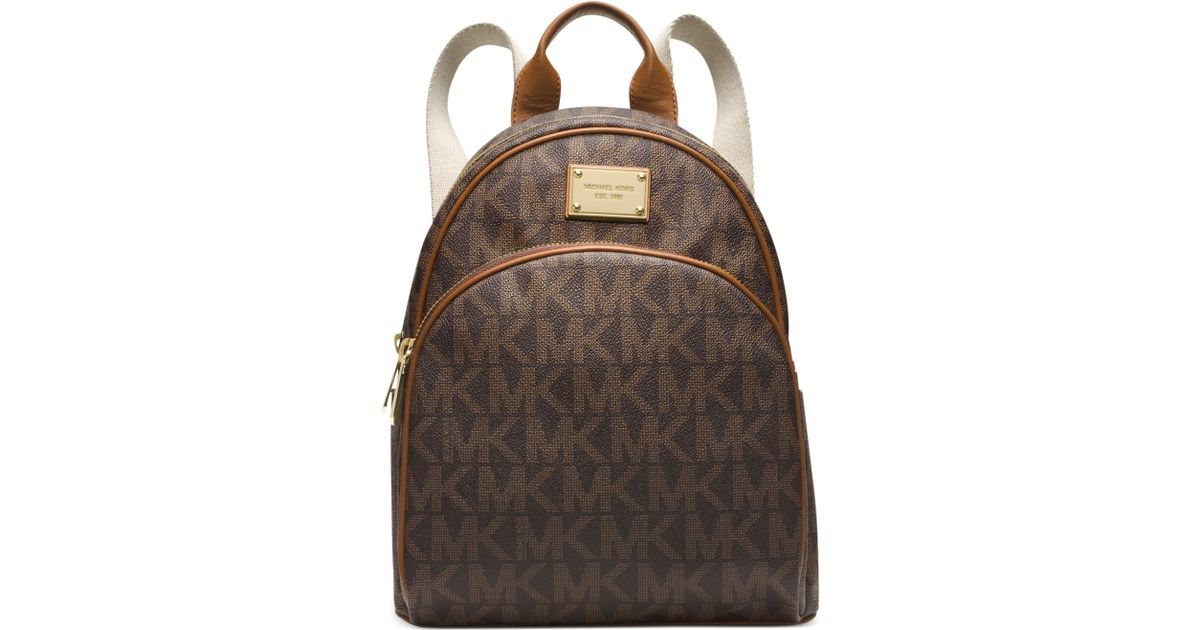 aa0f4f33b89f ... get lyst michael kors michael signature small backpack in brown ea864  53552