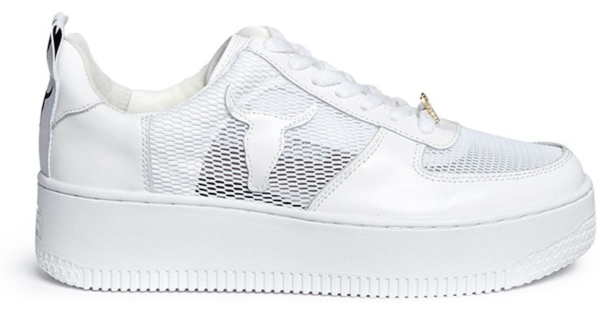 6561aa0f5f66 Windsor Smith  racemesh  Logo Leather Platform Sneakers in White - Lyst