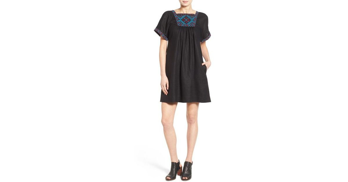 1806f58a5e Lyst - Madewell  wander  Embroidered Linen Dress in Black