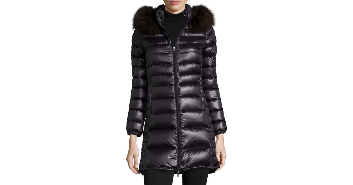 Duvetica Ociroe Long Puffer Coat With Fur Hood in Black | Lyst