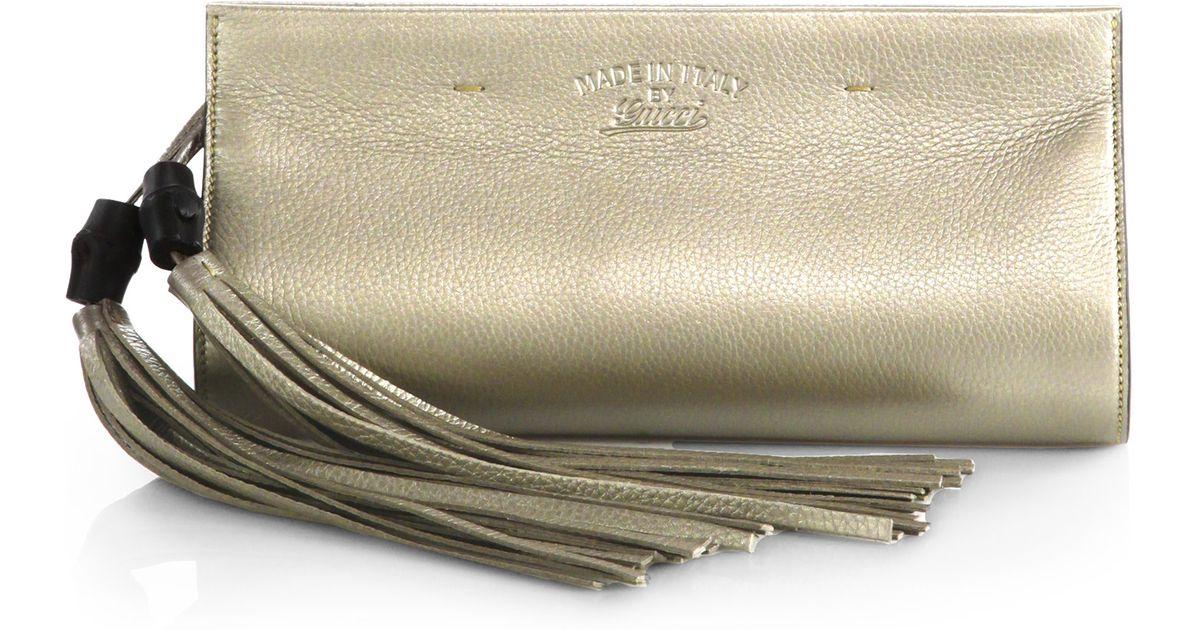 5d55a1a4e1 Gucci Broadway Metallic Leather Evening Clutch in Metallic - Lyst