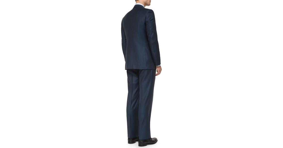 ebdd4603 Ermenegildo Zegna - Blue Trofeo Wool Striped Suit for Men - Lyst