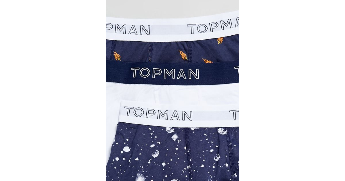 best quality for reputation first 100% authentic TOPMAN - Blue Rockets In Space 3 Pack Underwear for Men - Lyst