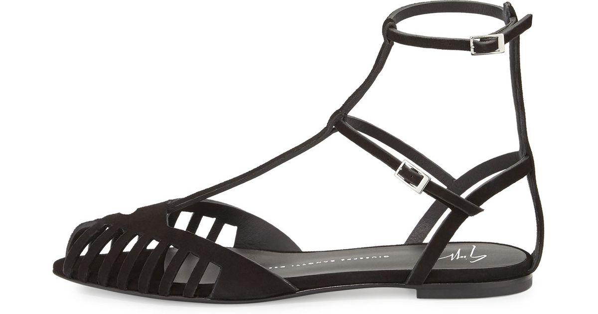 f1309cbd918 Lyst - Giuseppe Zanotti Laser-cut Caged Suede Flat Sandals in Black
