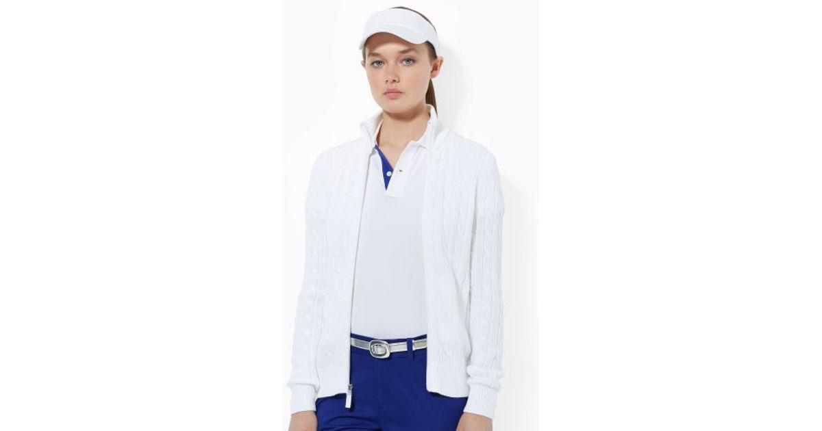 Ralph lauren golf Cable-Knit Zip-Up Sweater in Purple | Lyst
