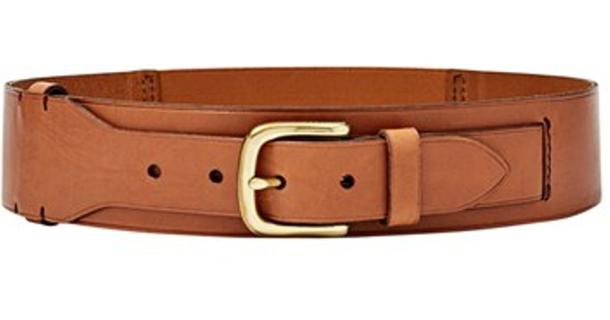 fossil elastic waist leather belt in brown lyst