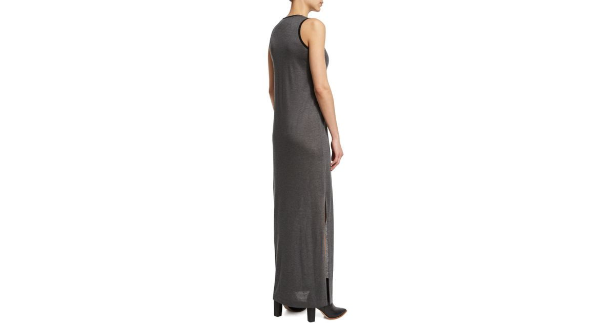 Lyst - Atm Sleeveless Jersey-knit Maxi Dress in Gray