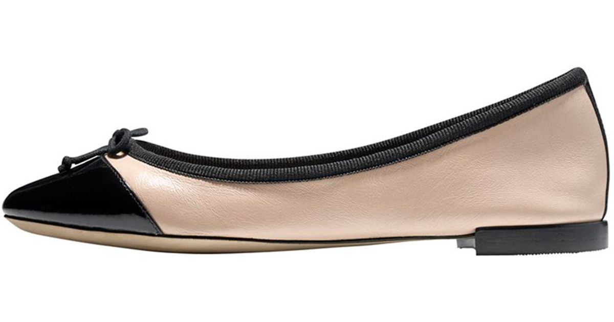 a7fdfb5ddf Cole Haan Sarina Cap-toe Ballet Flat in Black - Lyst
