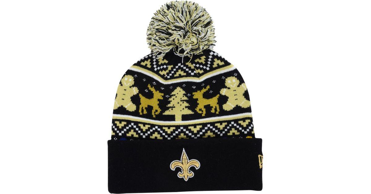 best website a938b 11e6c KTZ New Orleans Saints Christmas Sweater Pom Knit Hat in Yellow for Men -  Lyst