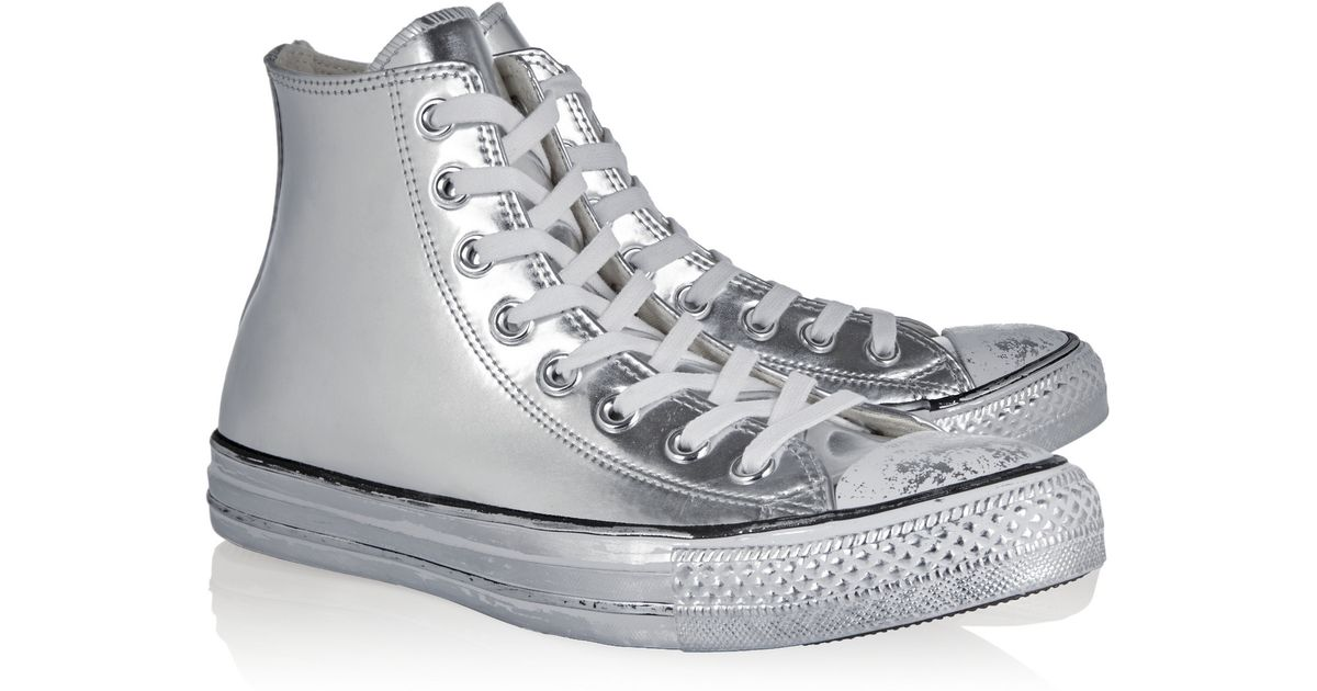 602f6f090146 Converse Chuck Taylor All Star Chrome Metallic Leather High-top Sneakers in  Metallic - Lyst