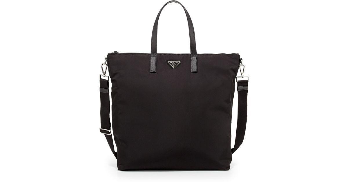 Prada Men's Nylon Zip Tote Bag With Strap in Black | Lyst