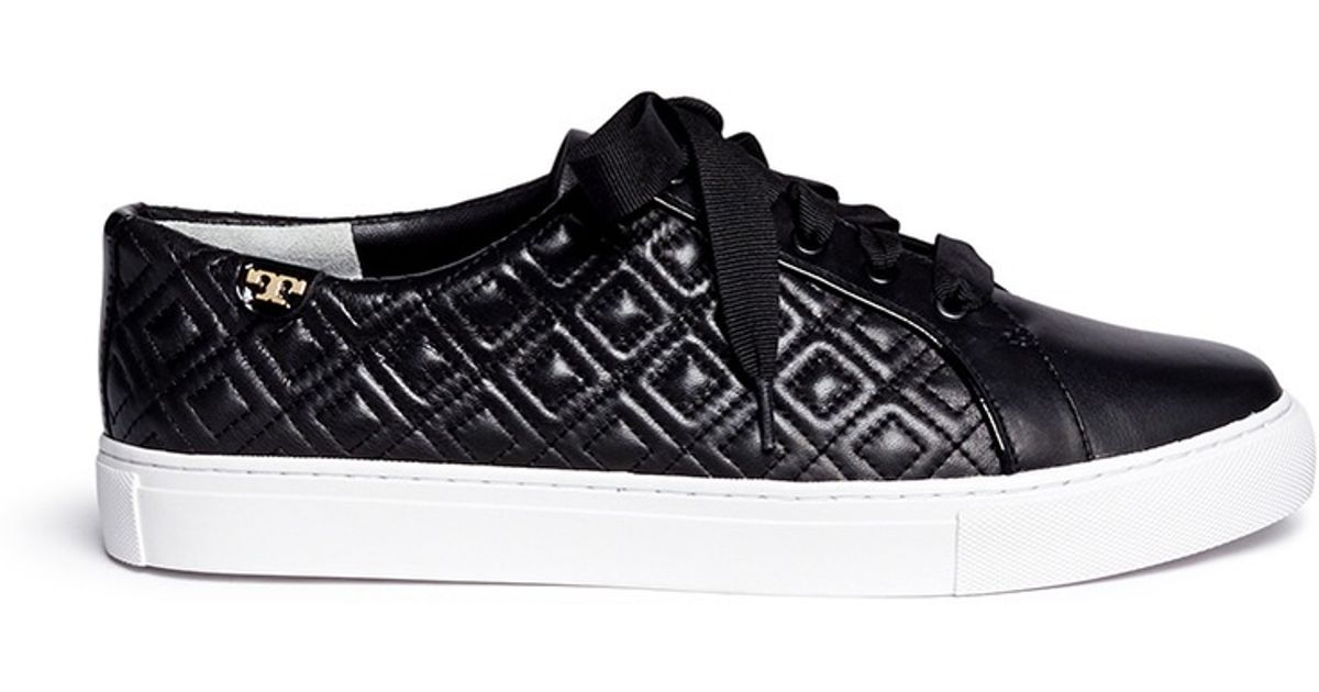 b53689d631cb Lyst - Tory Burch  marion  Quilted Leather Sneakers in Black