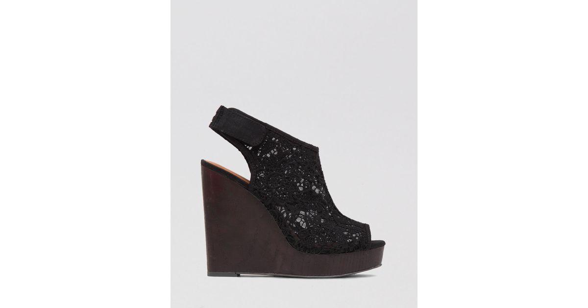 85fb84d0630 Lyst - Lucky Brand Open Toe Platform Wedge Sandals - Rezdah 2 in Black