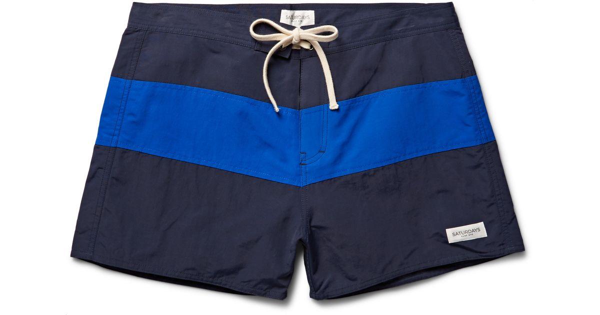 2dab8891a82cb Saturdays NYC Grant Mid-length Striped Swim Shorts in Blue for Men - Lyst