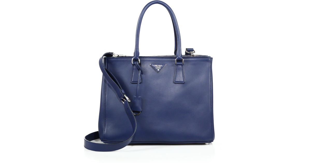 prada handbags purple - Prada City Calf Medium Double-zip Tote in Blue (bluette) | Lyst