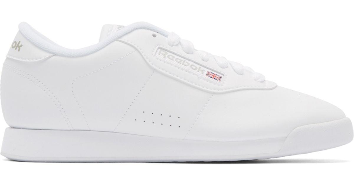 e05f50c21610f Lyst - Reebok White Leather Princess Sneakers in White