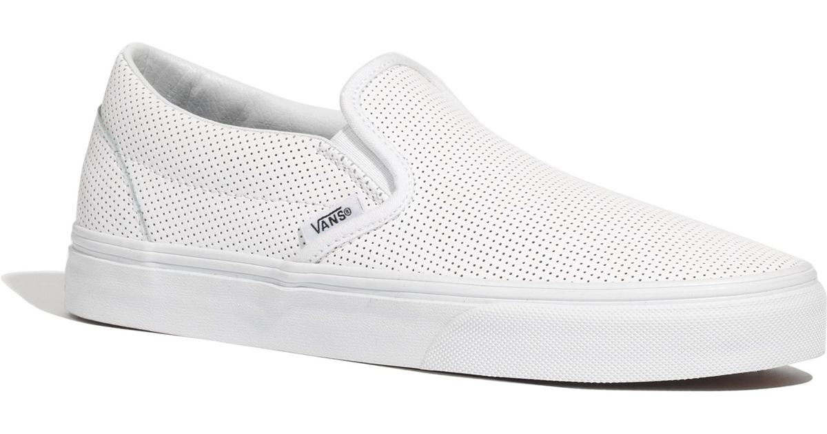 700bfc48b259 Lyst - Madewell Vans® Classic Slip-ons In Perforated Leather in White