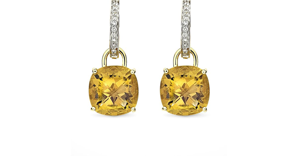 Lyst Kiki Mcdonough Eternal 18k Gold Citrine Diamond Earrings In Metallic