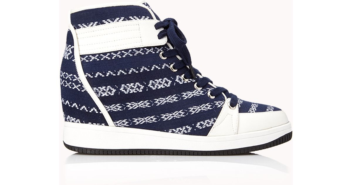 Lyst - Forever 21 Globetrotter Wedge Sneakers in Blue dd98cc88f