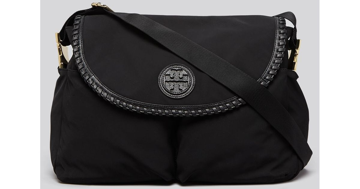 2d83ade8d888 Lyst - Tory Burch Diaper Bag - Marion Nylon Messenger in Black
