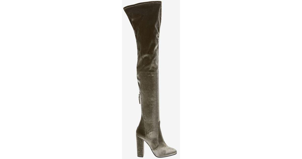 b1dd00d7257 Lyst - Aquazzura Velvet Over-the-knee Boots in Green