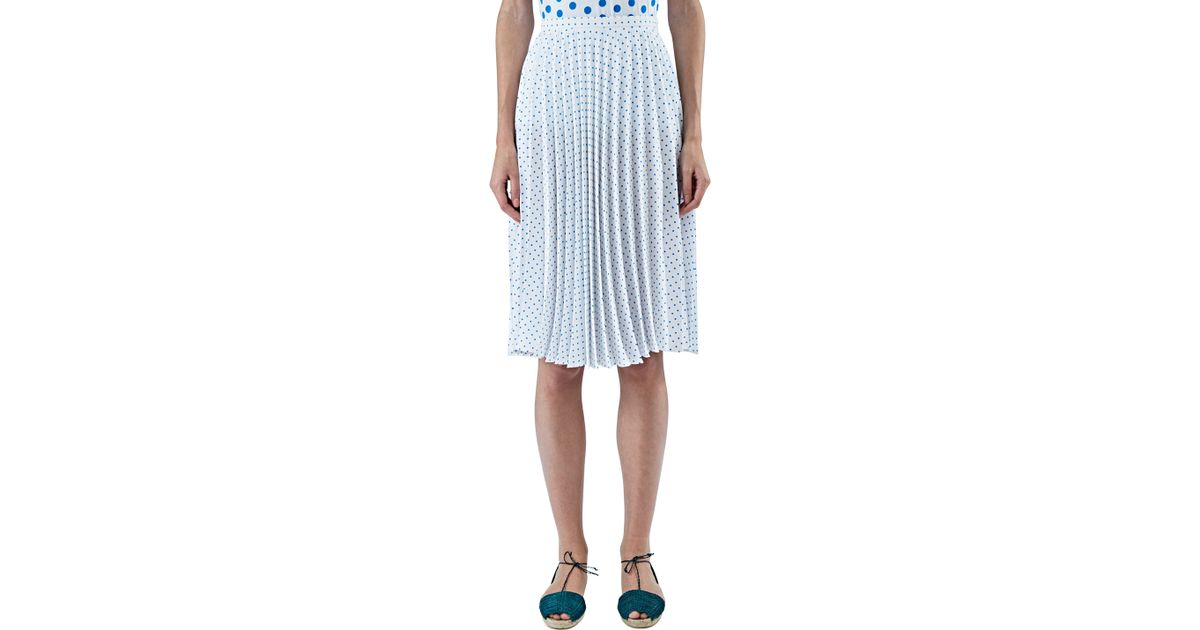 j w s polka dot pleated skirt in blue and