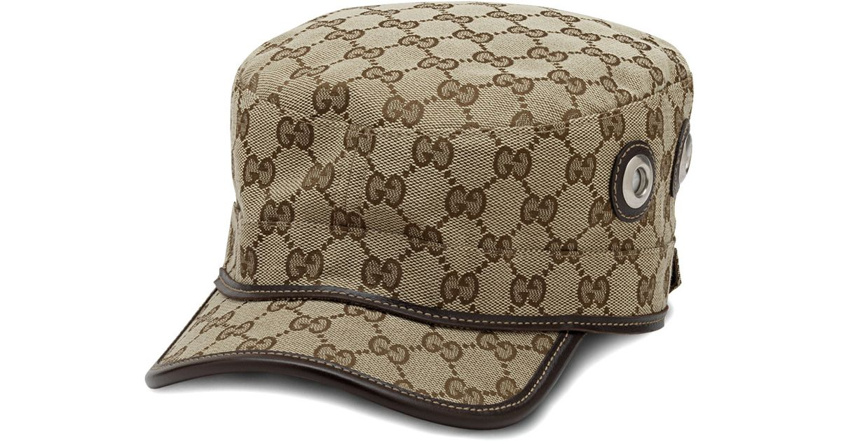 Lyst - Gucci Canvas Military Hat in Natural 120eca08616