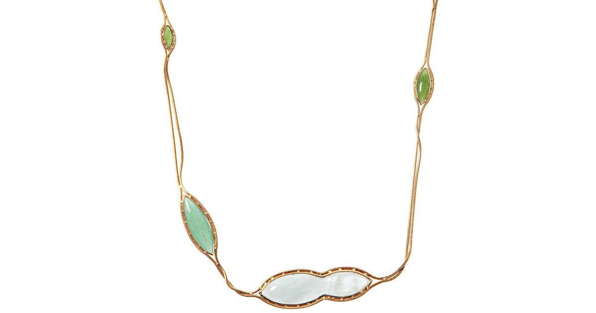 ca039eba51f8 Large White Jade Gold Pendant. Lyst Fernando Je Quartz Aquamarine Jade Gold  Necklace In Green