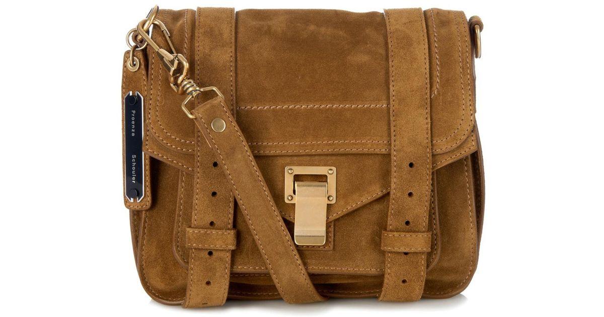 a6df222c4e7 Lyst - Proenza Schouler Ps1 Suede Cross-Body Bag in Brown