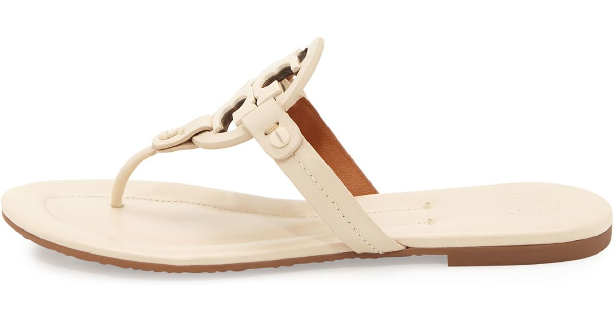 274930396 Lyst - Tory Burch Miller 2 Logo Flat Leather Sandal in Natural