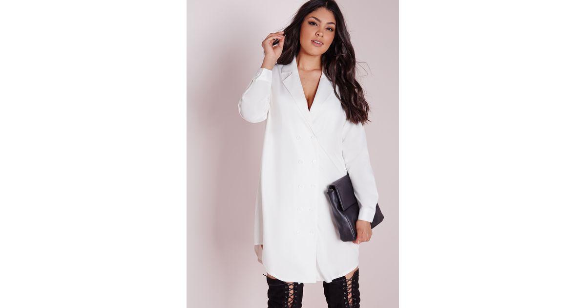 Lyst Missguided Plus Size Tuxedo Shirt Dress White In White