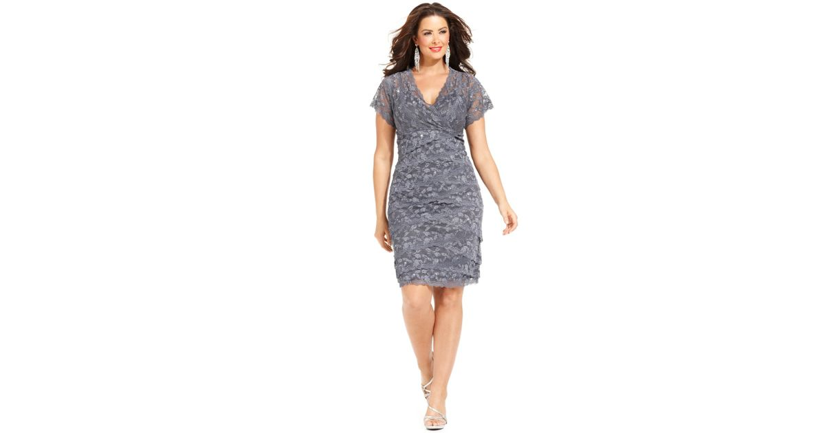 Lyst Marina Plus Size Cap Sleeve Lace Cocktail Dress In Gray