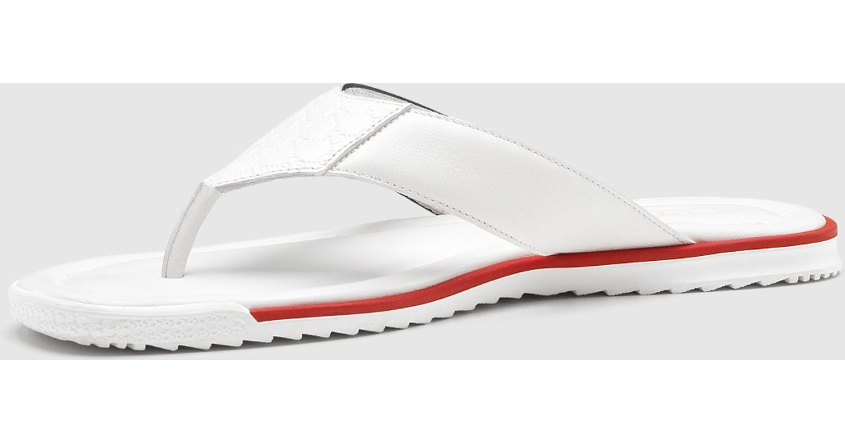 043c4b817 Lyst - Gucci White Leather Thong Sandal in White for Men