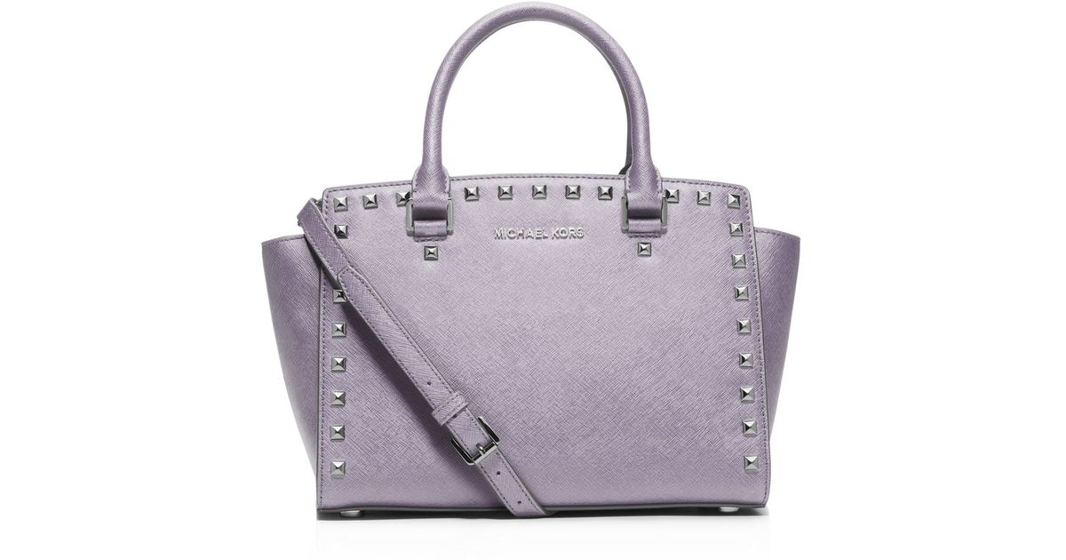 4014903fe069 MICHAEL Michael Kors Medium Selma Stud Top Zip Satchel in Purple - Lyst