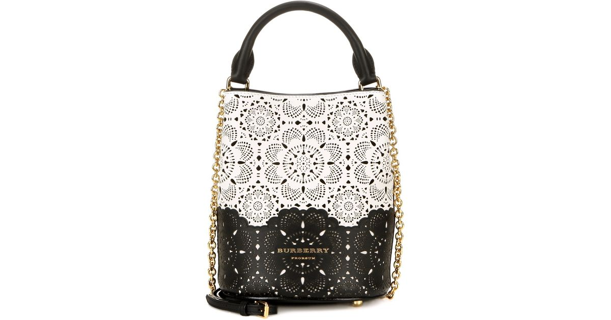 7575b6c58f2f Lyst - Burberry Prorsum Perforated Small Leather Bucket Bag in White