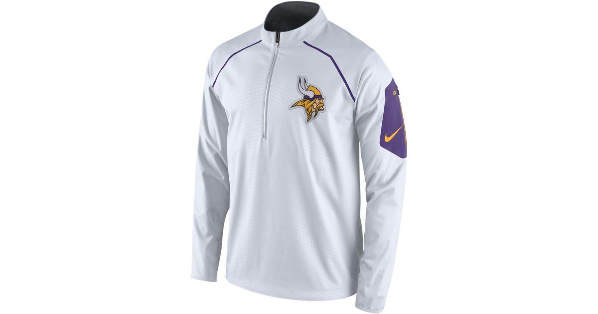 6185e0e3e609 Lyst - Nike Men s Minnesota Vikings Alpha Fly Rush Quarter-zip Jacket in  White for Men