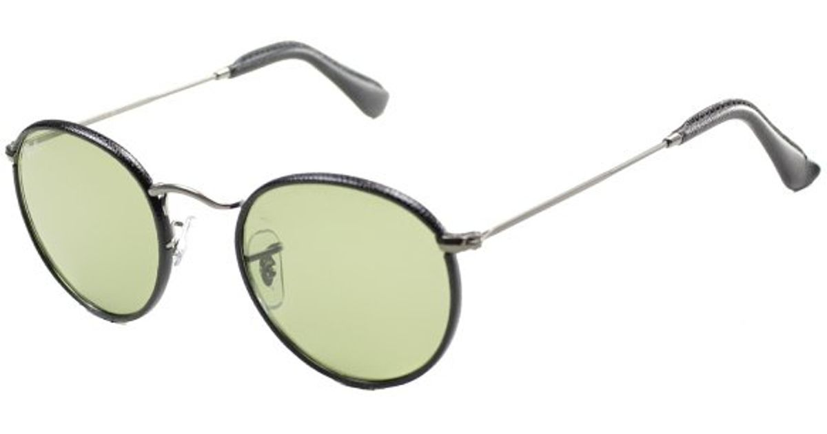 ... coupon code lyst ray ban ray ban round craft rb3475q 029 14 black leather  matte gunmetal 1179904a86