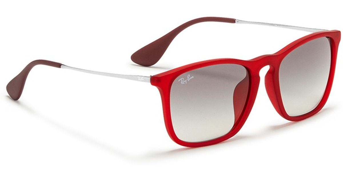 Lyst - Ray-Ban \'chris\' Acetate Frame Wire Temple Sunglasses in Red ...