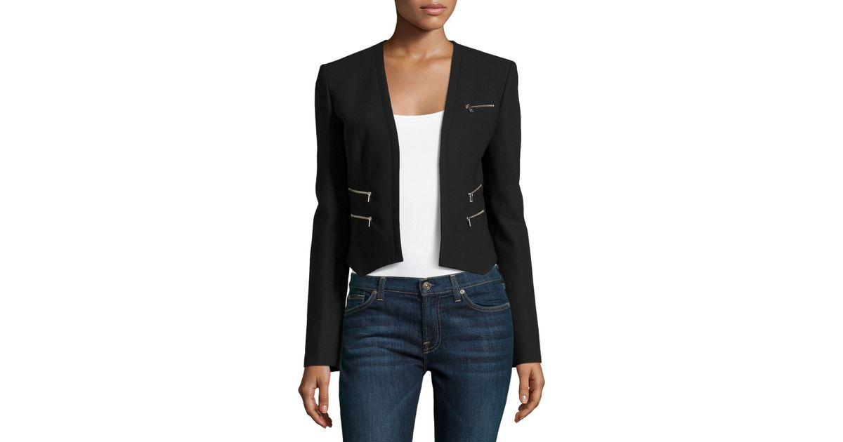 6e236b051227 Lyst - Michael Kors Cropped Zip Jacket in Black