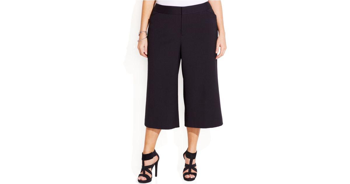 Inc international concepts Plus Size Gaucho Dress Pants in Black ...